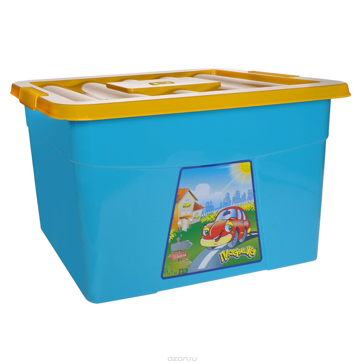 Пластишка Ящик для игрушек на колесиках цвет голубой желтый 60 см х 40 см х 36 см1004900000360Большой вместительный ящик предназначен для хранения игрушек, мелких предметов, детских конструкторов. На дне ящика есть колесики, благодаря которым ребенок сможет сам передвигать ящик по комнате. Удобный ящик защитит содержимое от пыли, влаги, грязи. Он выполнен из высококачественного экологически чистого, прочного материала. Яркий, красивый дизайн ящика на колесах и его функциональность по достоинству оценят родители и дети.