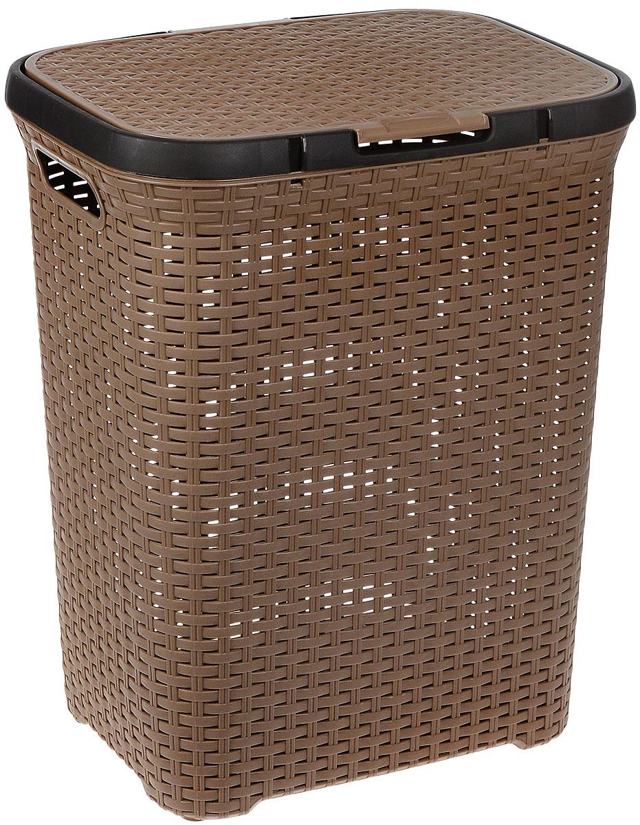 Корзина для белья Полимербыт Артлайн, цвет: коричневый, 60 л391602Корзина для белья Полимербыт Артлайн изготовлена из пластика с эффектом плетения. Оснащена двумя ручками для удобной переноски и откидной крышкой. Корзина легкая и надежная, гладкая и изящная, с вентиляционными отверстиями в стенках. Пластиковые корзины - идеальный вариант для влажного помещения, они не подвержены плесени, деформации, коррозии. Прекрасно подходят для хранения тонких, дорогих вещей, так как не оставляют зацепок и зазубринок, которые могут безнадежно испортить вещь. Объем: 60 л.