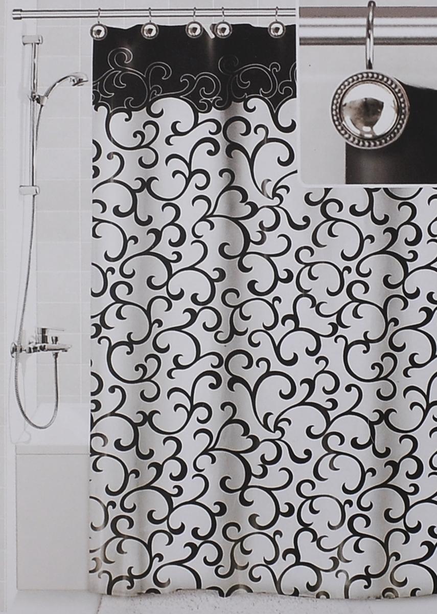Штора для ванной Valiant Элегант, цвет: белый, черный, 180 см х 180 см391602Штора для ванной комнаты Valiant Элегант из 100% плотного полиэстера с водоотталкивающей поверхностью идеально защищает ванную комнату от брызг.В верхней кромке шторы предусмотрены отверстия для декоративных крючков, выполненных в одном стиле (входят в комплект), а в нижней кромке шторы скрыт гибкий шнур, который поддерживает ее в естественной расправленной форме.Штору можно легко почистить мягкой губкой с мылом или постирать ее с мягким моющим средством в деликатном режиме. Количество крючков: 12 шт.
