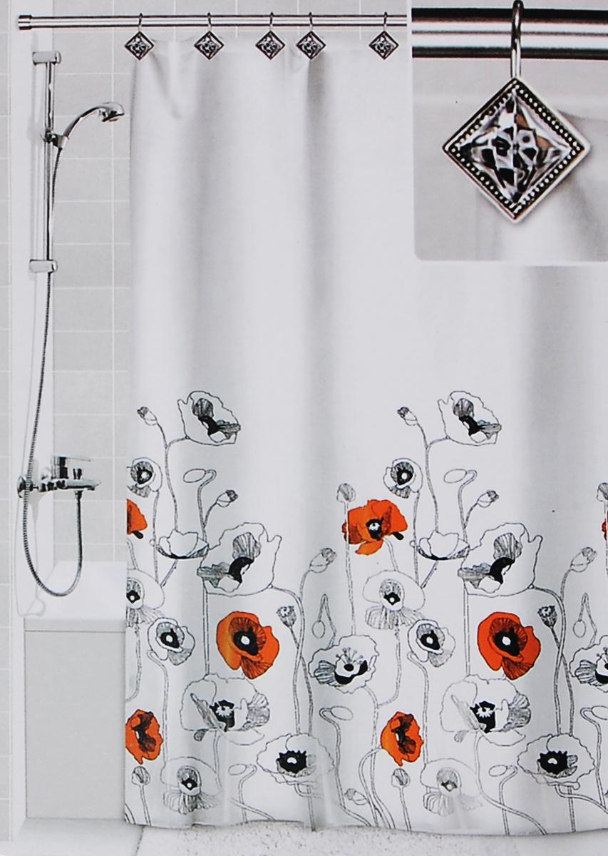 Штора для ванной Valiant Маки, цвет: белый, черный, оранжевый, 180 х 180 см531-105Штора для ванной комнаты Valiant Маки из 100% плотного полиэстера с водоотталкивающей поверхностью идеально защищает ванную комнату от брызг.В верхней кромке шторы предусмотрены отверстия для декоративных крючков, выполненных в одном стиле (входят в комплект), а в нижней кромке шторы скрыт гибкий шнур, который поддерживает ее в естественной расправленной форме.Штору можно легко почистить мягкой губкой с мылом или постирать ее с мягким моющим средством в деликатном режиме. Количество крючков: 12 шт.