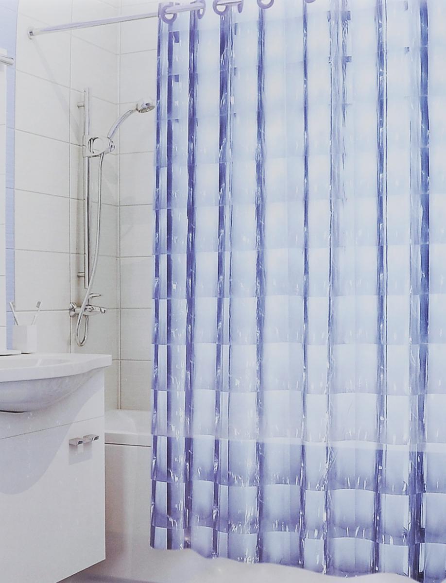 Штора для ванной 3D Valiant Зеркало, цвет: голубой, 180 х 180 см531-105Штора для ванной комнаты Valiant Зеркало из 100% ЭВА с завораживающим кристаллическим эффектом идеально защищает ванную комнату от брызг.Изделие легко крепится благодаря специальным раздвижным люверсам.Штору можно легко почистить мягкой губкой с мылом.