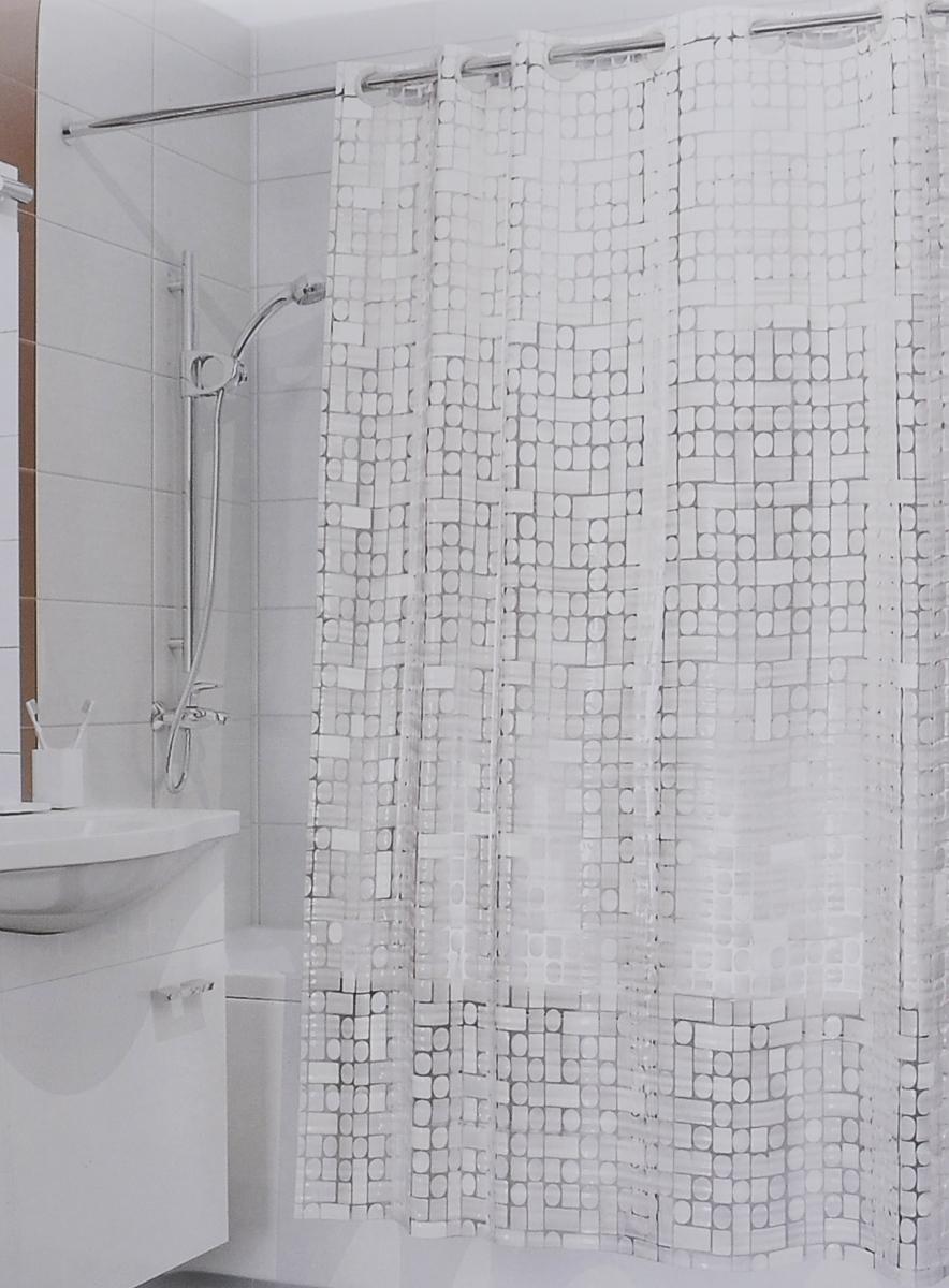 Штора для ванной 3D Valiant Сияние, цвет: белый, 180 см х 180 см391602Штора для ванной комнаты Valiant Сияние из 100% ЭВА с завораживающим кристаллическим эффектом идеально защищает ванную комнату от брызг.Изделие легко крепится благодаря специальным раздвижным люверсам.Штору можно легко почистить мягкой губкой с мылом.