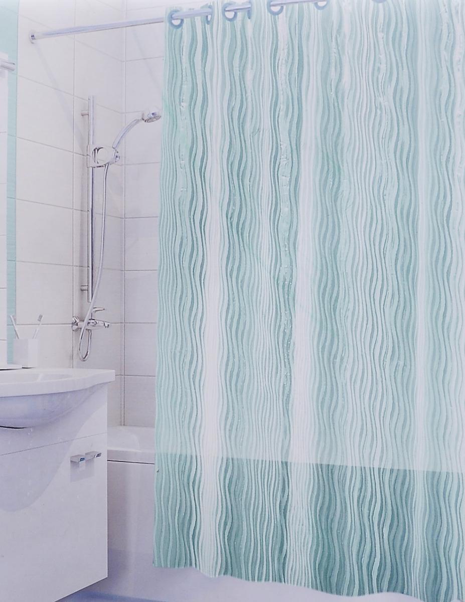 Штора для ванной 3D Valiant Волна, цвет: зеленый, 180 х 180 см391602Штора для ванной комнаты Valiant Волна из 100% ЭВА с завораживающим кристаллическим эффектом идеально защищает ванную комнату от брызг.Изделие легко крепится благодаря специальным раздвижным люверсам.Штору можно легко почистить мягкой губкой с мылом.