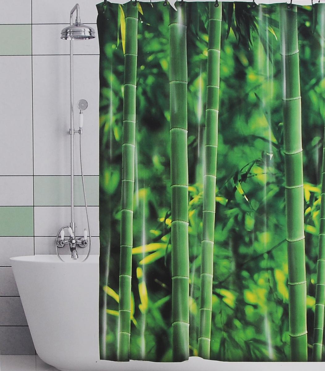 Штора для ванной Valiant Бамбуковые джунгли, цвет: зеленый, 180 х 180 см391602Штора для ванной комнаты Valiant Бамбуковые джунгли из 100% плотного полиэстера с водоотталкивающей поверхностью идеально защищает ванную комнату от брызг.В верхней кромке шторы предусмотрены отверстия для пластиковых колец (входят в комплект), а в нижней кромке шторы скрыт гибкий шнур, который поддерживает ее в естественной расправленной форме.Штору можно легко почистить мягкой губкой с мылом или постирать ее с мягким моющим средством в деликатном режиме. Количество колец: 12 шт.