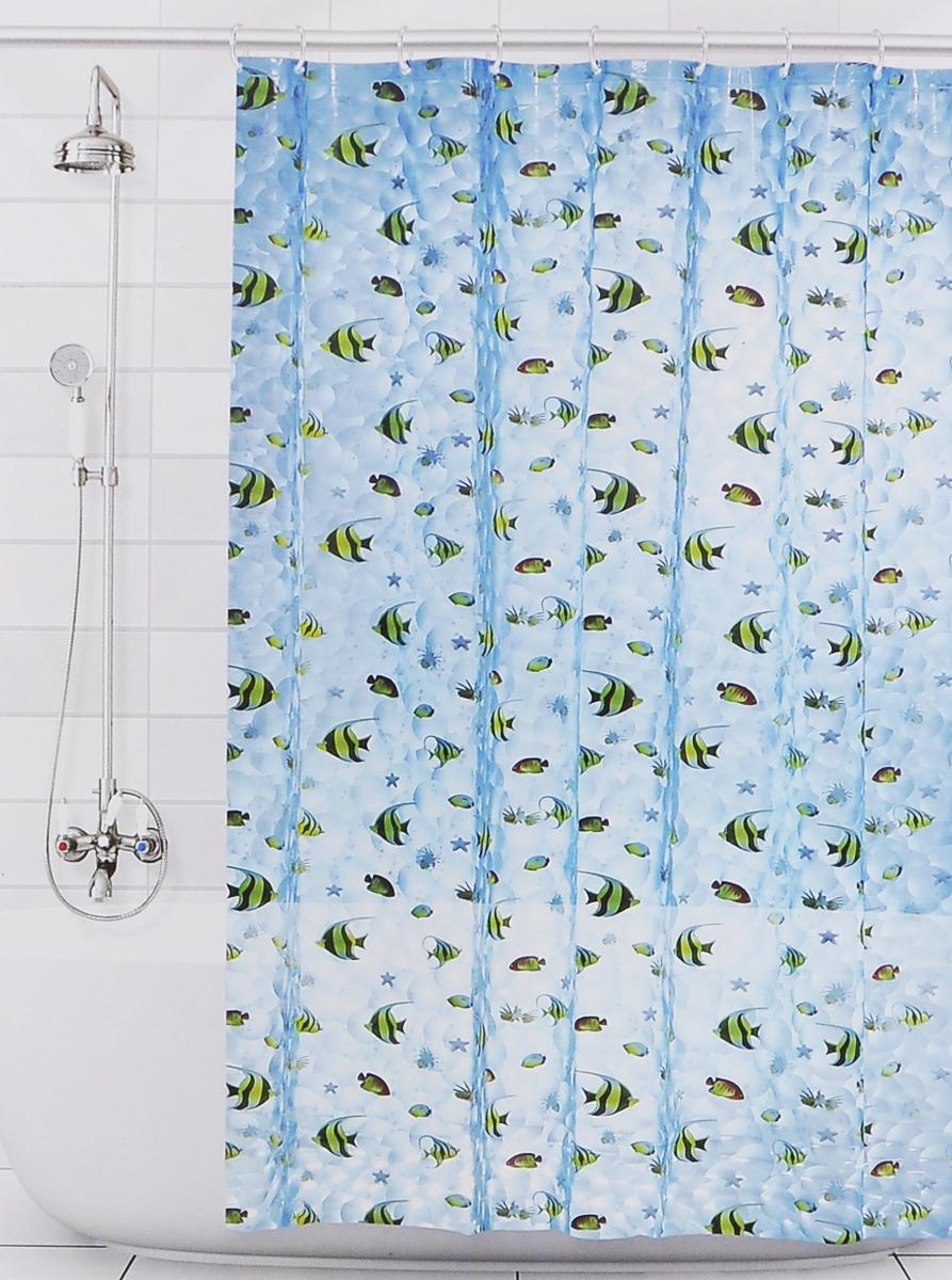 Штора для ванной 3D Valiant Аквариум, цвет: голубой, желтый, черный, 180 х 180 см531-105Штора для ванной комнаты Valiant Аквариум из 100% ЭВА с завораживающим кристаллическим эффектом идеально защищает ванную комнату от брызг.В верхней кромке шторы предусмотрены отверстия для пластиковых колец (входят в комплект).Штору можно легко почистить мягкой губкой с мылом. Количество колец: 12 шт.