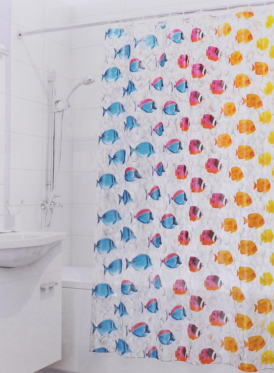 Штора для ванной 3D Valiant Цветные рыбки, цвет: голубой, желтый, красный, 180 х 180 смCLP446Штора для ванной комнаты Valiant Цветные рыбки из 100% PEVA с завораживающим кристаллическим эффектом идеально защищает ванную комнату от брызг.В верхней кромке шторы предусмотрены отверстия для пластиковых колец (входят в комплект).Штору можно легко почистить мягкой губкой с мылом. Количество колец: 12 шт.