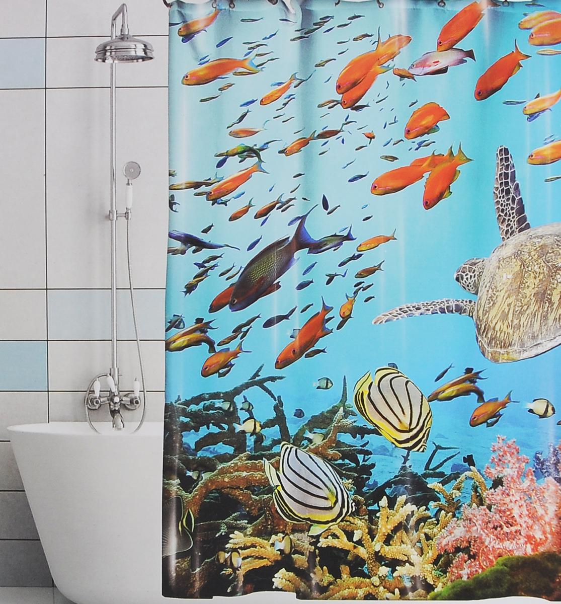 Штора для ванной Valiant Подводный мир, цвет: голубой, синий, 180 х 180 смRG-D31SШтора для ванной комнаты Valiant Подводный мир из 100% плотного полиэстера с водоотталкивающей поверхностью идеально защищает ванную комнату от брызг.В верхней кромке шторы предусмотрены отверстия для пластиковых колец (входят в комплект), а в нижней кромке шторы скрыт гибкий шнур, который поддерживает ее в естественной расправленной форме.Штору можно легко почистить мягкой губкой с мылом или постирать ее с мягким моющим средством в деликатном режиме. Количество колец: 12 шт.