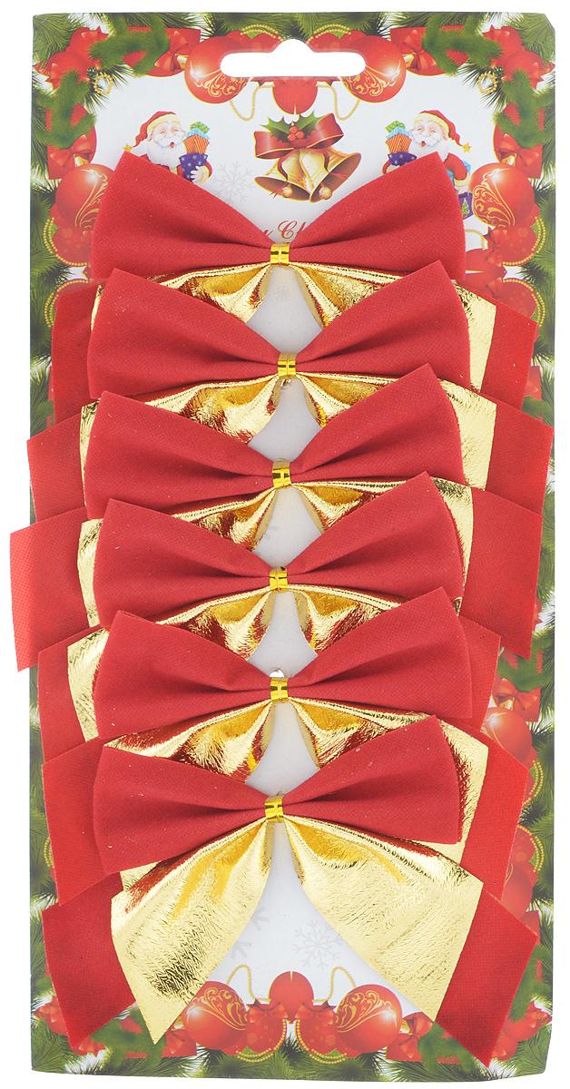 Набор новогодних украшений Феникс-Презент Бант, цвет: золотой, гранат, 6 шт набор новогодних украшений феникс презент медали с елочками на прищепках 6 шт