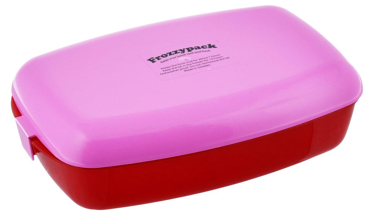 Контейнер Frozzypack, с охлаждающим элементом, цвет: красный, розовый, 1,2 лVT-1520(SR)Контейнер Frozzypack выполнен из высококачественного пищевого пластика и не содержит BPA, PFOA и парабенов. В крышке контейнера расположен охлаждающий элемент, который поможет сохранить вашу еду прохладной в течение 7 часов при комнатной температуре. Для поддержания низкой температуры в контейнере, крышку необходимо предварительно охладить в морозильной камере в течение 10 часов.Можно мыть при температуре до 100°С и замораживать до -40°С. Подходит для посудомоечной машины. Не использовать крышку в микроволновой печи. Размер контейнера: 24,5 см х 15,5 см. Высота стенок контейнера: 5 см.