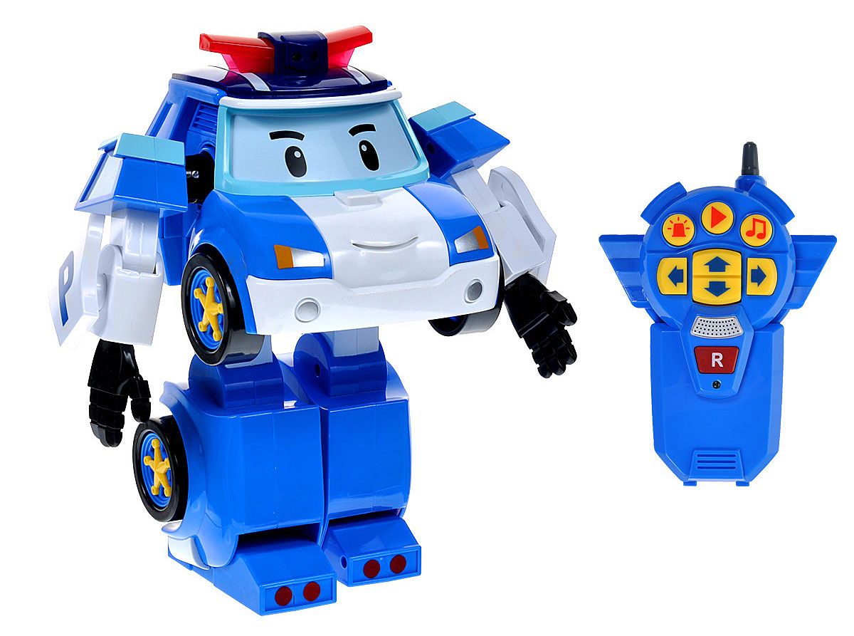 """Робот-трансформер на радиоуправлении Poli """"Поли"""" непременно понравится вашему ребенку. Он выполнен в виде полицейской машинки-робота Поли - персонажа мультфильма """"Robocar Poli"""". У робота подвижные руки и ноги. Он может управляться с пульта. Поли-робот при помощи пульта управления может двигаться вперед, назад, поворачивать влево и вправо, включать мигалку и звук сирены. На пульте управления расположена кнопка записи. Нажмите и удерживайте ее для записи звука, фразы или мелодии. Затем нажмите кнопку """"Play"""", и Поли воспроизведет то, что вы записали. Робот Поли непременно наведет порядок в городке Брумстаун. Порадуйте своего малыша таким замечательным подарком! Необходимо докупить 4 батарейки напряжением 1,5V типа АА и 3 батарейки напряжением 1,5V типа ААА (не входят в комплект)."""