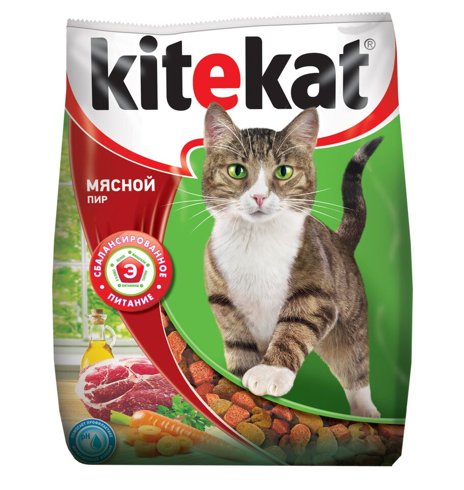 Корм сухой для кошек Kitekat, мясной пир, 350 г10289Корм Kitekat - это полноценная еда, которая содержит все необходимое для вашей кошки. Kitekat Мясной Пир приготовлен из таких же качественных натуральных продуктов, которые вы используете дома для своих близких: мясные ингредиенты, овощи, растительное масло и крупы. Kitekat знает, как правильно их сбалансировать для энергии и здоровья вашего кота. Состав: злаки, мясо и субпродукты, белковые растительные экстракты, жиры животного происхождения, растительные масла (источник омега-6), овощи, пивные дрожжи, витамины и минеральные вещества. Анализ: белки-28 г; жиры-10 г; зола-8 г: клетчатка-не более 5 г; влажность-не более 10 г; кальций -1,2 г; фосфор - 0,8 г; витамин А - 1200 ME; витамин D - 120 ME; витамин Е - 6 мг; а также витамин В2, витамин В12, пантотеновая кислота, биотин, витамин В1, витамин В6, ниацин, таурин, метионин. Товар сертифицирован.