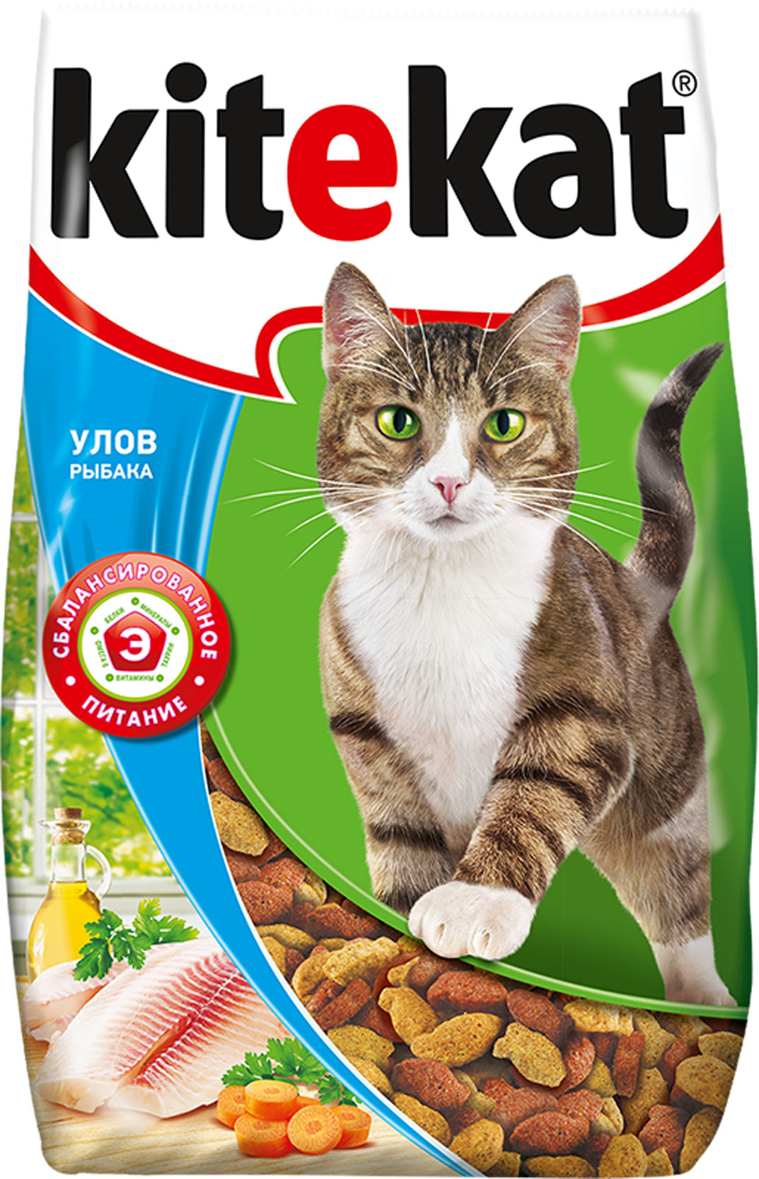 Корм сухой для кошек Kitekat, улов рыбака, 800 г0120710Сухой корм Kitekat - это специально разработанная еда для кошек с оптимально сбалансированным содержанием белков, витаминов и микроэлементов. Уникальная формула Kitekat включает в себя все необходимые для здоровья компоненты: - белки - для поддержания мышечного тонуса, силы и энергии; - жирные кислоты - для здоровой кожи и блестящей шерсти; - кальций, фосфор, витамин D - для крепости костей и зубов; - таурин - для остроты зрения и стабильной работы сердца; - витамины и минералы, натуральные волокна - для хорошего пищеварения, правильного обмена веществ, укрепления здоровья. Корм Kitekat идеально подходит для вашего любимца как надежный источник жизненных сил. Товар сертифицирован.
