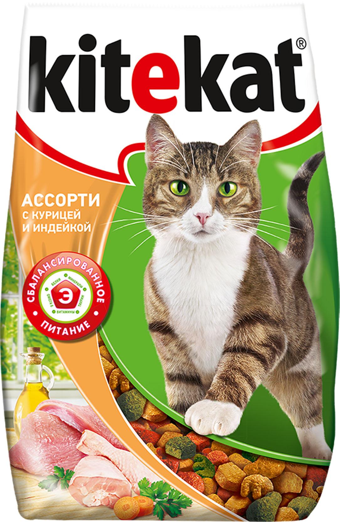 Корм сухой для взрослых кошек Kitekat, индейка, 1,9 кг40432