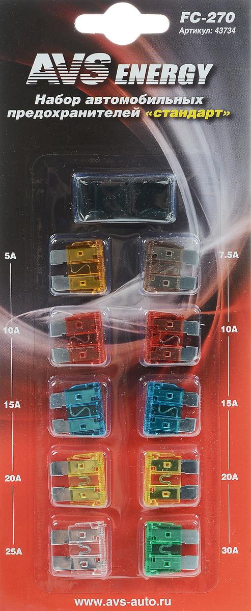 Набор автомобильных предохранителей AVS Стандарт, 10 штZTCC2AMCАвтомобильные флажковые предохранители AVS помогут защитить электрические цепи автомобиля от короткого замыкания и позволят без проблем заменить сгоревший предохранитель в автомобиле. Корпус предохранителя выполнен из прозрачного пластика, а элемент - из цинкового сплава. Набор автомобильных предохранителей Стандарт применяется на иномарках и большинстве отечественных автомобилей. В комплект входит 10 предохранителей разного номинала и специальный пинцет. Номинал: 5А, 7,5А, 2 х 10А, 2 х 15А, 2 х 20А, 25А, 30А. Тип: флажковые.