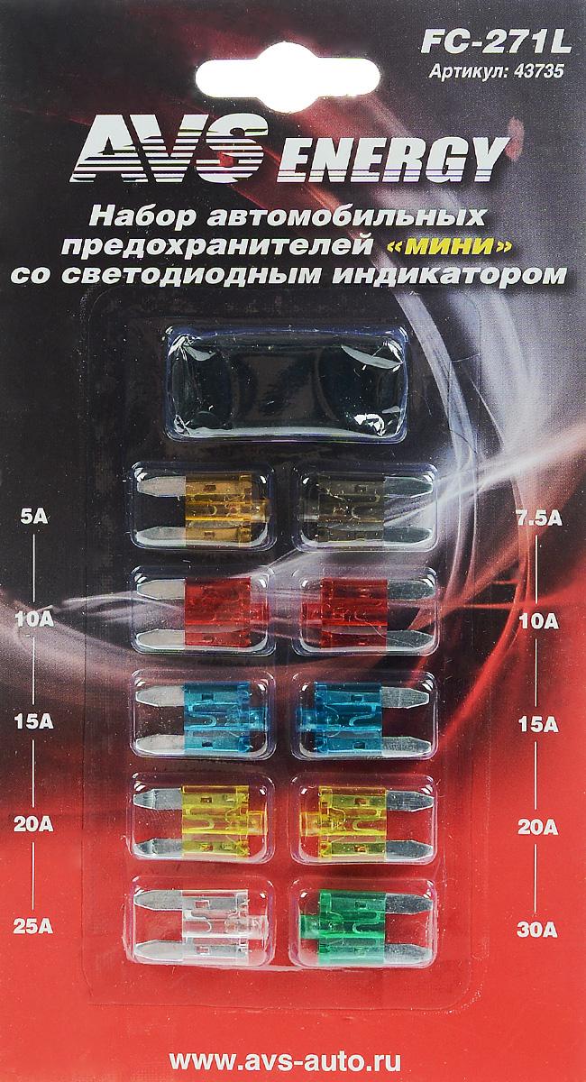 Набор автомобильных предохранителей AVS Мини, со светодиодом, 10 шт80621Автомобильные флажковые предохранители AVS помогут защитить электрические цепи автомобиля от короткого замыкания и позволят без проблем заменить сгоревший предохранитель в автомобиле. Корпус предохранителя выполнен из прозрачного пластика, а элемент - из цинкового сплава. Предохранители оборудованы светодиодным индикатором, который включается, если предохранитель перегорает. Благодаря этому перегоревший предохранитель легко обнаружить и сразу же заменить. Набор автомобильных предохранителей Мини применяется на иномарках. В комплект входит 10 предохранителей разного номинала и специальный пинцет. Номинал: 5А, 7,5А, 2 х 10А, 2 х 15А, 2 х 20А, 25А, 30А. Тип: флажковые.