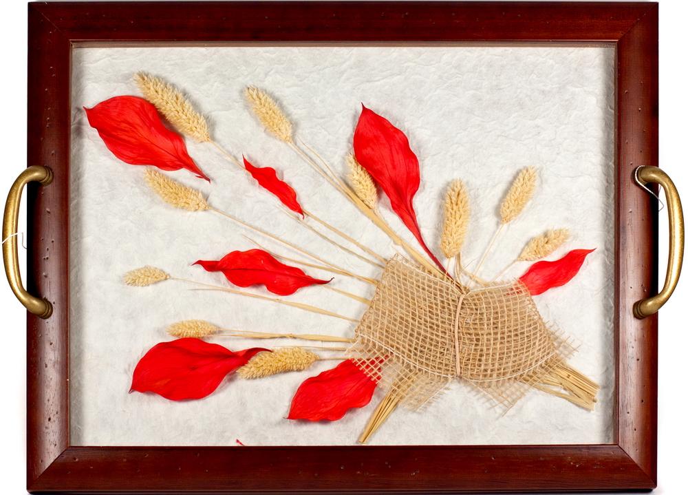 2 в 1: поднос с цветами, настенное урашение, рыжий лист, шт1155102 в 1: поднос с цветами, настенное урашение, рыжий лист, шт мультиколор