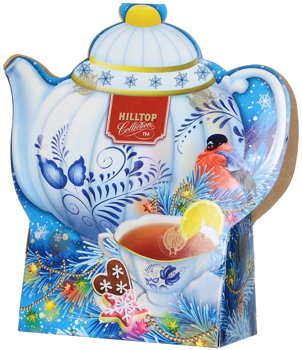Hilltop Королевское золото черный листовой чай, 80 г (чайник)71082-00Hilltop Королевское золото - крупнолистовой терпкий черный чай стандарта Супер Пеко с лучших плантаций острова Цейлон. Чай упакован в яркую картонную упаковку в виде чайника с новогодним оформлением, которая наверняка украсит зимнее чаепитие в кругу близких!