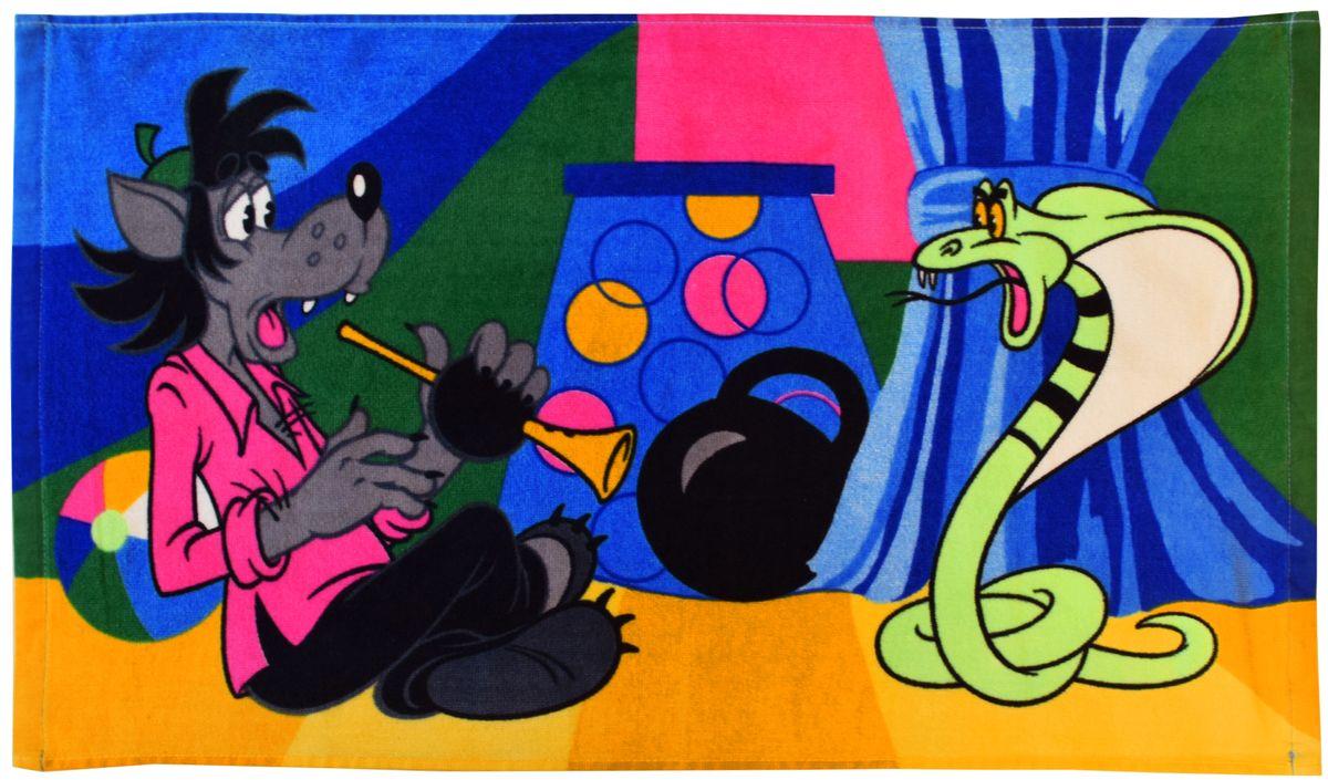 Полотенце 40*70 см, махровое, Ну, погоди!01300115875Красочные полотенца 2 в 1: одна сторона развлекает, другая — вытирает.Разнообразие расцветок полотенец поможет окунуться в мир волшебных сказок и мультипликационных героев.