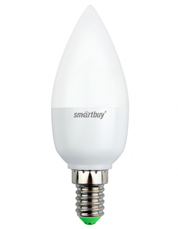 Лампа светодиодная Smartbuy, C37, холодный свет, цоколь Е14, 5 ВтC0027355Светодиодная лампа Smartbuy C37 - энергосберегающая лампа общего или декоративного освещения, подходит для замены стандартных ламп накаливания и галогенных. Благодаря своей экономичности, длительному сроку службы и экологичности светодиодные лампы выгодно отличаются от своих предшественников. Колба лампы выполнена в форме свечи. Поверхность колбы матовая. Лампа С37 повторяет форму и размеры стандартных ламп типа свеча и идеально подходит к любому светильнику, в котором используются данные типы ламп. В светодиодных лампах серии C37 применяются высокоэффективные светодиоды, обеспечивающие эффективность до 80 лм/Вт. При этом коэффициент цветопередачи ламп обеспечивается на уровне Ra>80. Особенности: - Хорошая цветопередача. - Отсутствие мерцания обеспечивает меньшую утомляемость глаз. - Высокоэффективный драйвер обеспечивает стабильную работу. - Устойчивость к механическому воздействию. - Большой срок службы - 30 000 часов работы. - Широкий рабочий температурный режим от -25° до +45°С. - Не содержит ртуть, экологически безопасна. Тип колбы: C37. Индекс цветопередачи: RA>80. Частота: 50 Гц. Напряжение: 220-240 В. Коэффициент мощности: 0,06.