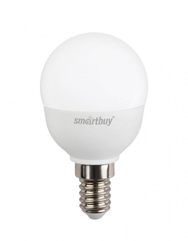 Лампа светодиодная Smartbuy, P45, холодный свет, цоколь Е14, 7 ВтC0044701Светодиодная лампа Smartbuy P45 - энергосберегающая лампа общего или декоративного освещения, подходит для замены ламп накаливания и галогенных. Благодаря своей экономичности, длительному сроку службы и экологичности светодиодные лампы выгодно отличаются от своих предшественников. Колба лампы выполнена в форме шара. Поверхность колбы матовая. Лампа P45 повторяет форму и размеры стандартных ламп типа шар и идеально подходит к любому светильнику, в котором используются данные типы ламп. В светодиодных лампах серии P45 применяются высокоэффективные светодиоды, обеспечивающие эффективность до 80 лм/Вт. При этом коэффициент цветопередачи ламп обеспечивается на уровне Ra>80. Особенности: - Хорошая цветопередача. - Отсутствие мерцания обеспечивает меньшую утомляемость глаз. - Высокоэффективный драйвер обеспечивает стабильную работу. - Устойчивость к механическому воздействию. - Большой срок службы - 30 000 часов работы. - Широкий рабочий температурный режим от -25° до +45°С. - Не содержит ртуть, экологически безопасна. Тип колбы: P45. Индекс цветопередачи: RA>80. Частота: 50 Гц. Напряжение: 220-240 В. Коэффициент мощности: 0,06.