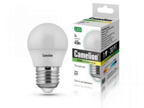 Лампа светодиодная Camelion, теплый свет, цоколь E27, 5WSBL-C37-07-40K-E14Энергосберегающая лампа Camelion - это инновационное решение, разработанное на основе новейших светодиодных технологий (LED), для эффективной замены любых видов галогенных или обыкновенных ламп накаливания во всех типах осветительных приборов. Служит в 30 раз дольше обычных ламп, экономит 1200 кВт/ч. Она хорошо подойдет для создания рабочей атмосферы в производственных и общественных зданиях, спортивных и торговых залах, в офисах и учреждениях. Лампа не содержит ртути и других вредных веществ, экологически безопасна и не требует утилизации, не выделяет при работе ультрафиолетовое и инфракрасное излучение. Обладает высокой вибро- и ударопрочностью в связи с отсутствием нити накаливания и стеклянных трубок. Обеспечивает мгновенное включение без мерцания. Тип колбы: G45. Напряжение: 220-240В / 50 Гц. Индекс цветопередачи (Ra): 77+.Угол светового пучка: 220°. Использовать при температуре: от -30° до +40°.
