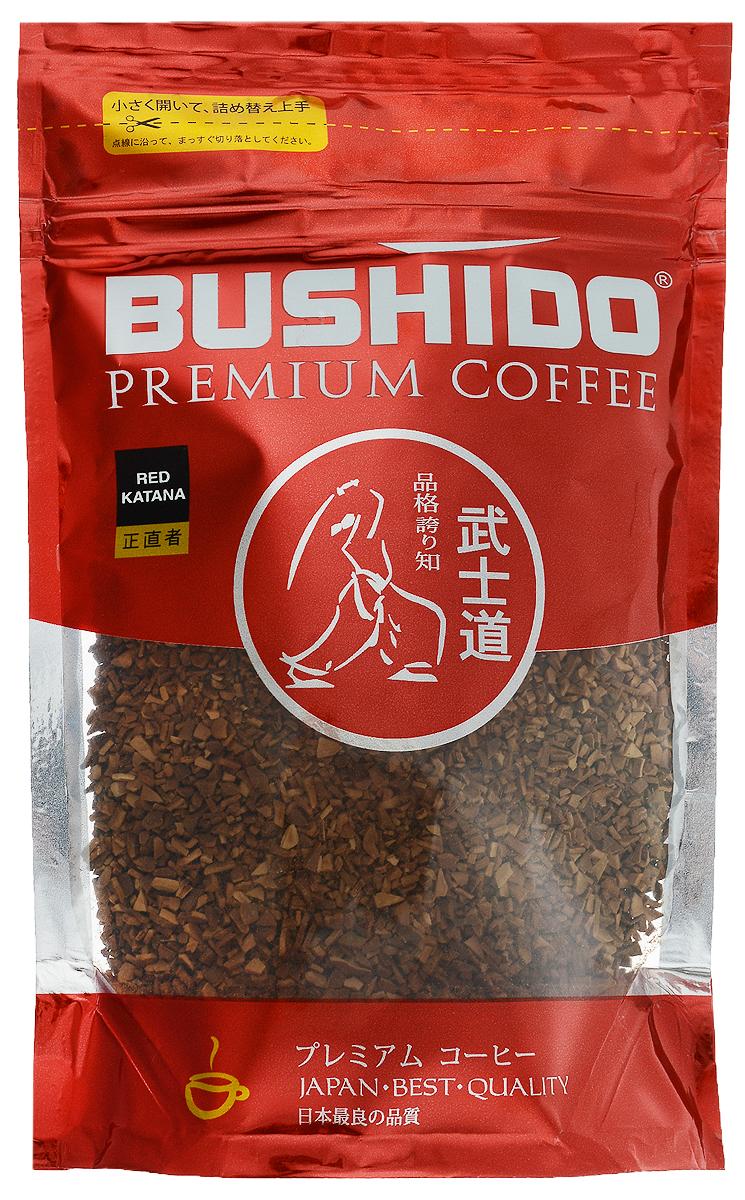 Bushido Red Katana кофе растворимый, 85 г0120710Bushido Red Katana - швейцарский кофе премиум класса, изготовлен из Арабики, собранной на высокогорных плантациях Восточной Африки. Обладает мягким вкусом, терпким винным ароматом и долгим послевкусием.