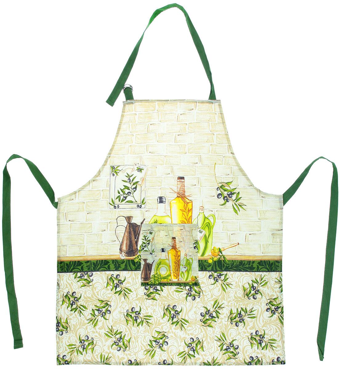 Фартук Bon Appetit Olive, 68 см х 75 смVT-1520(SR)Фартук Bon Appetit Olive, изготовленный из натурального 100% хлопка, оснащен карманом и регулируемым шейным ремешком, который поможетподогнать фартук по вашему росту. Удлиненный пояс можно завязать сзади или обернуть вокругталии. Такой фартук поднимет настроение, позволит почувствовать себя нарядной и женственной при выполнении домашних дел.