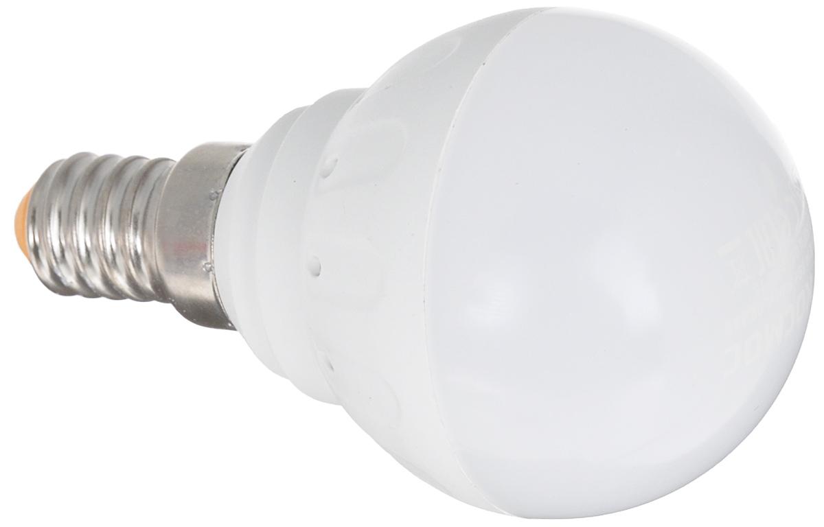 Светодиодная лампа Kosmos, теплый свет, цоколь E14, 5W, 220V. Lksm_LED5wGL45E1430CF30-AS-T2/827/E27Светодиодная лампа со сниженной теплопроизводительностью КОСМОС LED GL45 5Вт 220В E14 3000K (Lksm LED5wGL45E1430) разработана в соответствии с европейскими и российскими стандартами. Применима ко всем осветительным устройствам с цоколем Е14. Является аналогом 60-Ваттной обычной лампы. Угол рассеивания составляет 270 градусов.Уважаемые клиенты! Обращаем ваше внимание на возможные изменения в дизайне упаковки. Качественные характеристики товара остаются неизменными. Поставка осуществляется в зависимости от наличия на складе.