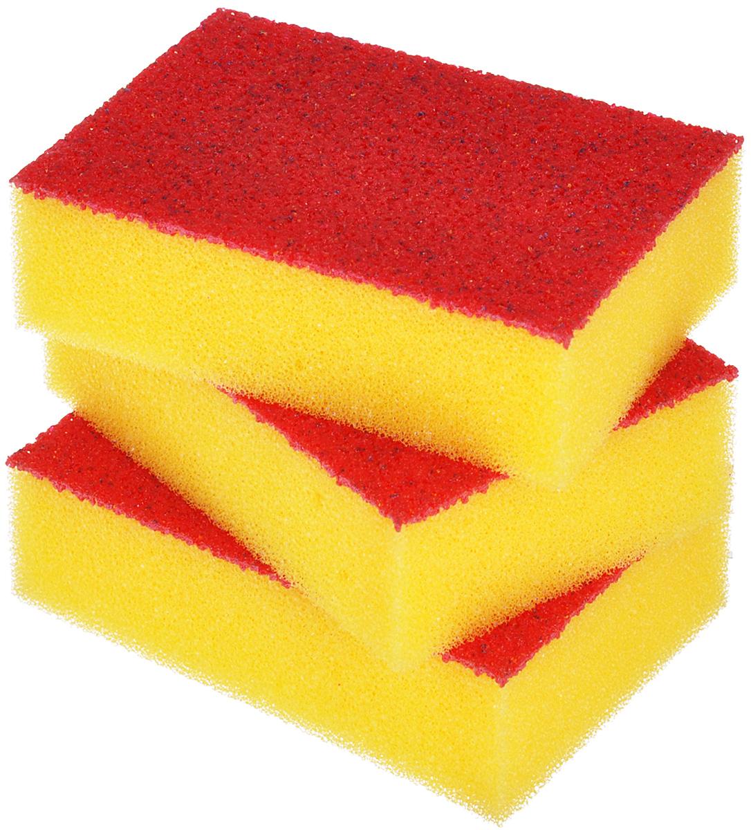 Набор губок Хозяюшка Мила Люкс для мытья посуды, цвет: желтый, 3 шт01010Поролоновые губки Хозяюшка Мила Люкс отличаются от большинства губок тем, что вместо абразивного чистящего слоя используется слой с эластомерной активной поверхностью (эластомер имеет полиуретановую основу). В отличие от абразивной фибры эластомер не наклеивается, а накатывается на поролон, поэтому срок службы такой губки во много раз дольше, чем обычной губки. Размер губки: 10 см х 7 см х 3 см.