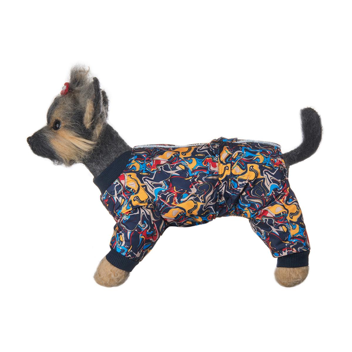 Комбинезон для собак Dogmoda Лаки, зимний, для мальчика, цвет: синий, желтый, красный. Размер 4 (XL)0120710Комбинезон для собак Dogmoda Лаки, оформленный ярким рисунком, отлично подойдет для прогулок в зимнее время года. Комбинезон изготовлен из водоотталкивающего полиэстера, защищающего от ветра и снега, с утеплителем из синтепона, который сохранит тепло даже в сильные морозы, а в качестве подкладки используется искусственный мех, который обеспечивает отличный воздухообмен. Комбинезон застегивается на кнопки на спинке, благодаря чему его легко надевать и снимать. Ворот, низ рукавов и брючин оснащены широкими трикотажными манжетами, которые мягко обхватывают шею и лапки, не позволяя просачиваться холодному воздуху. На пояснице комбинезон затягивается на шнурок-кулиску. Благодаря такому комбинезону простуда не грозит вашему питомцу, и он сможет испытать не сравнимое удовольствие от снежных игр и забав.