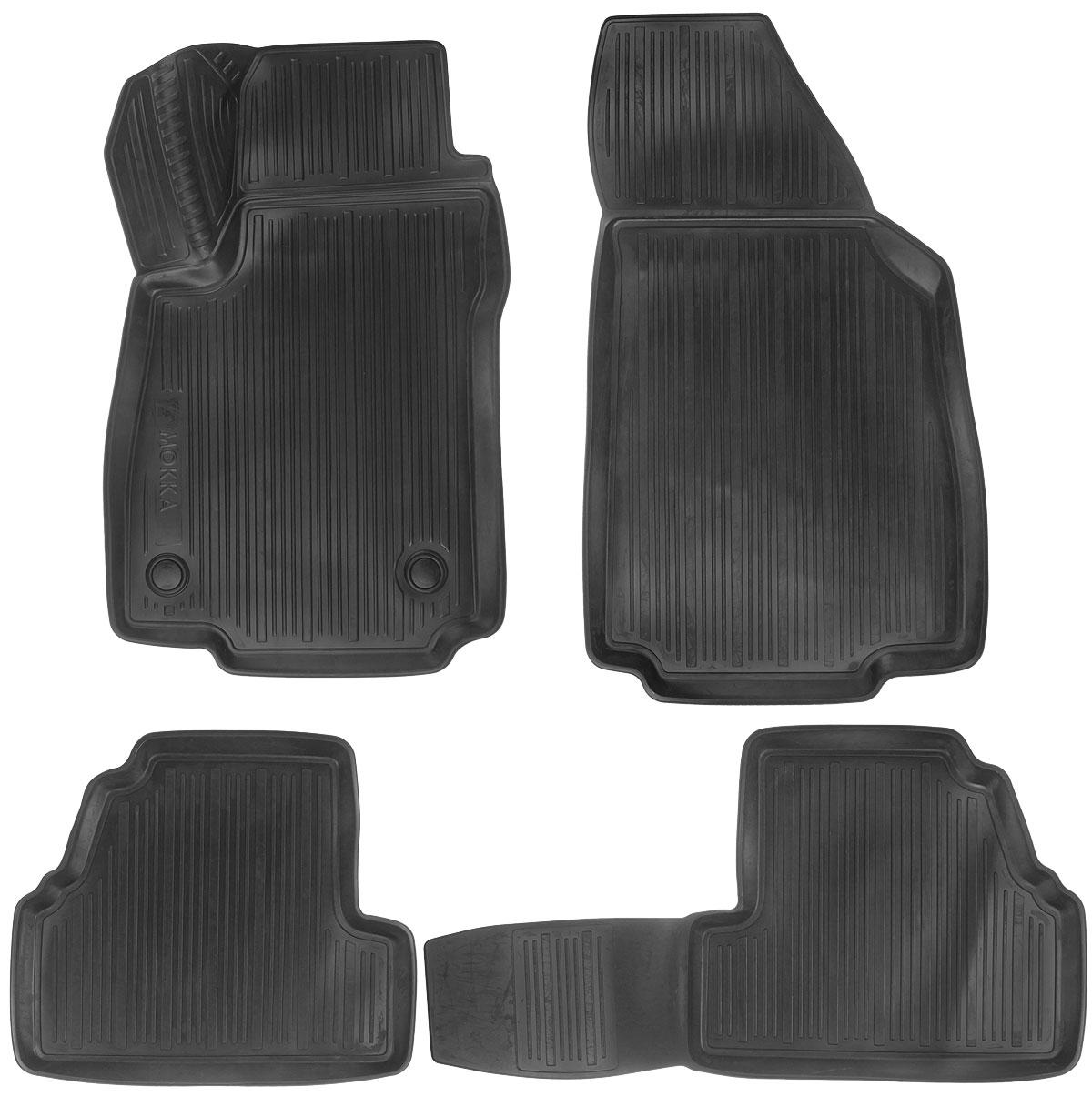 Набор автомобильных ковриков L.Locker Opel Mokka 2012, в салон, 4 штGSR 1080-2-LIНабор L.Locker Opel Mokka 2012, изготовленный из полиуретана, состоит из 4 антискользящих 3D ковриков, которые производятся индивидуально для каждой модели автомобиля. Изделие точно повторяет геометрию пола автомобиля, имеет высокий борт, обладает повышенной износоустойчивостью, лишено резкого запаха и сохраняет свои потребительские свойства в широком диапазоне температур от -50°С до +50°С.Комплектация: 4 шт.Размер ковриков: 80 см х 51 см; 50 см х 87,5 см; 84 см х 44 см; 51 см х 44 см.