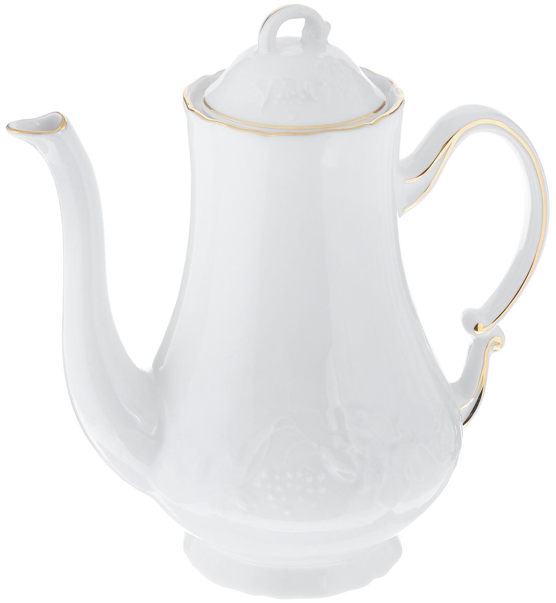 Кофейник La Rose Des Sables Vendanges, цвет: белый, золотистый, 1,3 л115510Кофейник La Rose Des Sables Vendanges изготовлен из высококачественного фарфора и предназначен для красивой подачи кофе. Внешние стенки изделия оформлены рельефным изображением цветов. Изящный дизайн кофейника придется по вкусу и ценителям классики, и тем, кто предпочитает утонченность и изысканность. Диаметр по верхнему краю: 8,5 см. Высота (без учета крышки): 20,5 см.Диаметр основания: 9 см.Объем: 1,3 л.