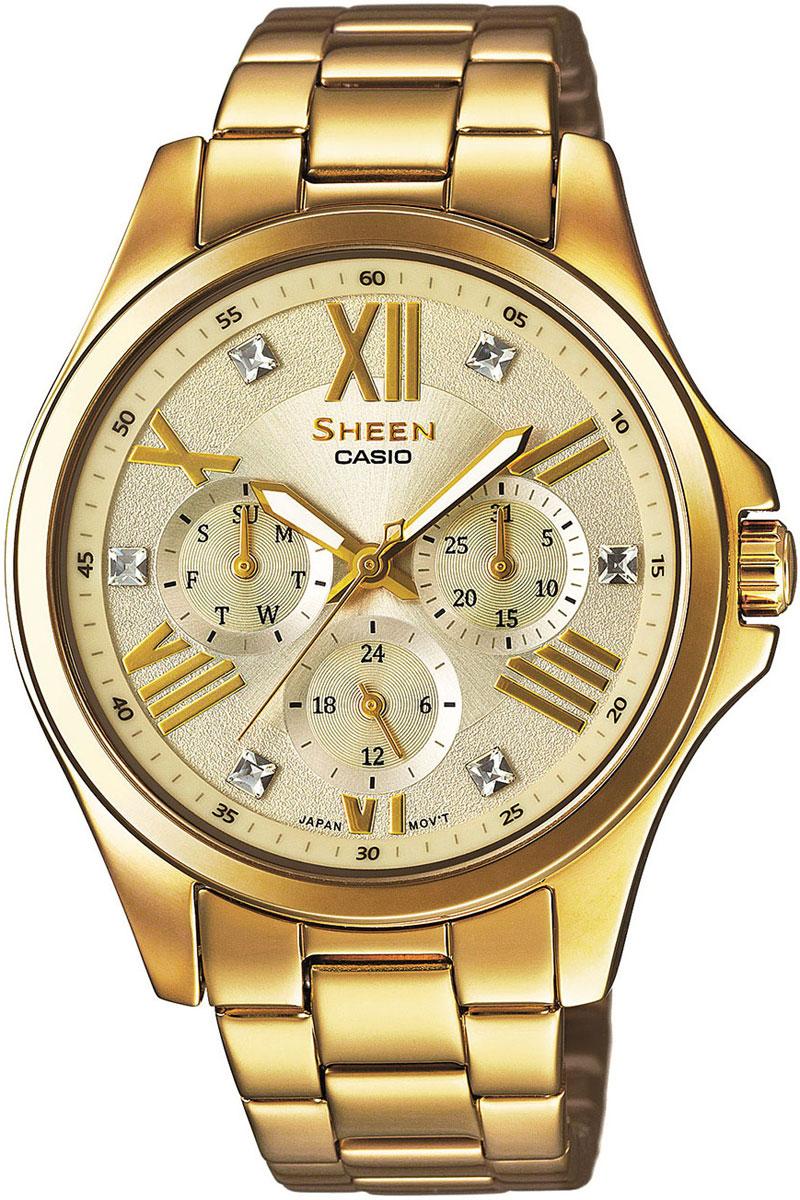 Часы женские наручные Casio, цвет: золотистый. SHE-3806GD-9ABM8434-58AEНаручные часы Casio произведены опытными специалистами из материалов самого высокого качества на базе новейших технологий. Часы прошли тщательную проверку и контроль качества.Часы оснащены японским кварцевым механизмом. Корпус выполнен из высококачественной нержавеющей стали с IP покрытием. Циферблат оформлен накладными знаками в виде римских цифр и отметок, защищен минеральным стеклом и декорирован кристаллами Swarovski. Часы имеют три стрелки: часовую, минутную и секундную. Светонакопительное покрытие необрит на стрелках продолжает светиться в темноте даже после непродолжительного пребывания на свету. Браслет часов выполнен из из высококачественной нержавеющей стали с IP покрытием и оснащен застежкой-клипсой. Часы имеют дополнительные функции: индикатор даты, дня недели, 12/24-часовой формат времени. Часы укомплектованы паспортом с подробной инструкцией и упакованы в оригинальную фирменную коробку.Характеристики: Длина браслета (с учетом корпуса): 22,5 см.Ширина браслета: 1,5 см.Диаметр корпуса: 5,5 см.Диаметр циферблата: 3,5 см.