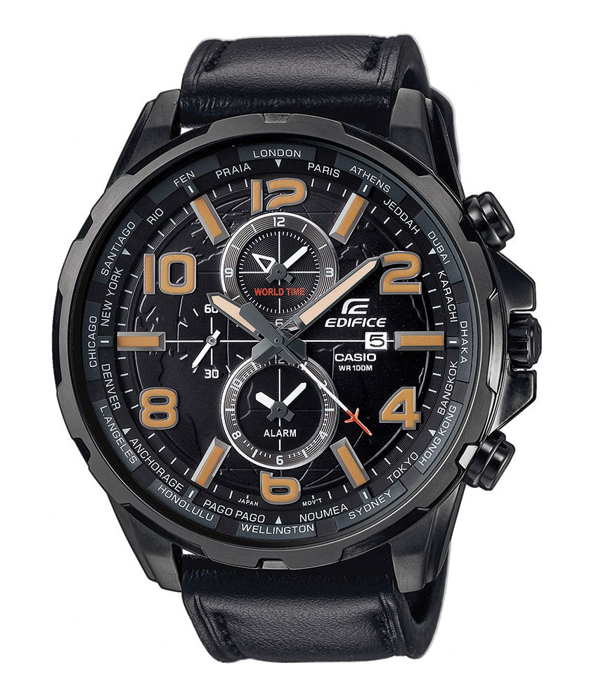 Часы наручные Casio, цвет: черный. EFR-302L-1ABM8434-58AEНаручные часы Casio произведены опытными специалистами из материалов самого высокого качества на базе новейших технологий. Часы прошли тщательную проверку и контроль качества.Часы оснащены японским кварцевым механизмом. Корпус выполнен из высококачественной нержавеющей стали с IP покрытием. Циферблат оформлен накладными знаками в виде арабских цифр и отметок, защищен минеральным стеклом. Часы имеют три стрелки: часовую, минутную и секундную. Необритовое светонакопительное покрытие стрелок и отметок обеспечивает длительное послесвечение в темноте даже после кратковременного нахождения на свету. Ремешок часов выполнен из натуральной кожи и оснащен застежкой-пряжкой. Часы имеют дополнительные функции: мировое время, будильник. Часы укомплектованы паспортом с подробной инструкцией и упакованы в оригинальную фирменную коробку. Характеристики: Длина ремешка (с учетом корпуса): 24 см.Ширина ремешка: 2 см.Диаметр корпуса: 5,5 см.Диаметр циферблата: 5 см. Дополнительные функции: Мировое время - 24 города (24 часовых пояса), всемирное координированное время (UTC).Деловые переговоры, романтический ужин, встреча с друзьями одинаково успешны с часами Casio.