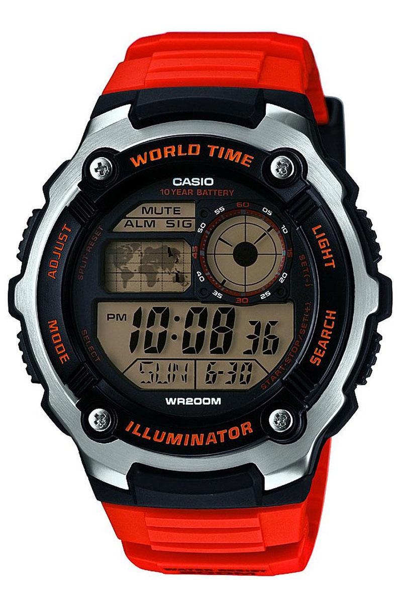 Часы наручные Casio, цвет: оранжевый, черный, серебристый. AE-2100W-4ABM8434-58AEНаручные часы Casio произведены опытными специалистами из материалов самого высокого качества на базе новейших технологий. Часы прошли тщательную проверку и контроль качества.Часы оснащены кварцевым механизмом. Корпус выполнен из высококачественной нержавеющей стали с пластиковыми вставками. Дисплей часов защищен минеральным стеклом, устойчивым к появлению царапин и подсвечивается светодиодом. Ремешок часов выполнен из полимерного материала и оснащен застежкой-пряжкой. Часы имеют дополнительные функции: мировое время, индикатор даты, секундомер, таймер, будильник. Часы укомплектованы паспортом с подробной инструкцией и упакованы в оригинальную фирменную коробку.Характеристики: Длина ремешка (с учетом корпуса): 27 см.Ширина ремешка: 2 см.Диаметр корпуса: 5,5 см.Диаметр циферблата: 4,5 см. Дополнительные функции: Мировое время - 31 город (48 часовых поясов), всемирное координированное время (UTC), отображение местного времени для четырех различных часовых поясов, функция включения/отключения летнего времени, 12-ти и 24-х часовой формат времени, секундомер с точностью показаний 1/100 сек и временем измерения 24 часа, таймер обратного отсчета от 1мин до 24ч. Функция включения/отключения звука.