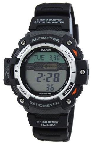 Часы наручные Casio, цвет: черный. SGW-1000-1ABM8434-58AEНаручные часы Casio произведены опытными специалистами из материалов самого высокого качества на базе новейших технологий. Часы прошли тщательную проверку и контроль качества.Часы оснащены кварцевым механизмом. Корпус выполнен из высококачественной нержавеющей стали с пластиковыми вставками. Дисплей часов защищен минеральным стеклом, устойчивым к появлению царапин и подсвечивается светодиодом, функция автоподсветки освещает циферблат при повороте часов к лицу. Ремешок часов выполнен из полимерного материала и оснащен застежкой-пряжкой. Часы имеют дополнительные функции: мировое время, индикатор даты, цифровой компас, барометр, термометр, альтиметр, секундомер, таймер, будильник. Модуль часов рассчитан на работу при низких температурах. Часы укомплектованы паспортом с подробной инструкцией и упакованы в оригинальную фирменную коробку.Характеристики: Длина ремешка (с учетом корпуса): 25 см.Ширина ремешка: 2 см.Диаметр корпуса: 5,5 см.Диаметр циферблата: 5,5 см. Дополнительные функции: Встроенный цифровой компас, альтимер - встроенный датчик барометрического давления с возможностью вывода результатов в единицах высоты над уровнем моря (от -700 до 10000 метров), память данных высотометра до 30 записей, барометр - измерение атмосферного давления от 260 до 1100 гПа (от 195 до 825 мм рт. ст.), термометр от -10° до +60°С с точностью 0,1°C. Время восхода и захода солнца, секундомер с точностью показаний 1/10с и временем измерения 1000ч, таймер обратного отсчета от 1мин до 24ч, мировое время, 12-ти и 24-х часовой формат времени, индикатор уровня заряда батареи, функция включения/отключения звука.