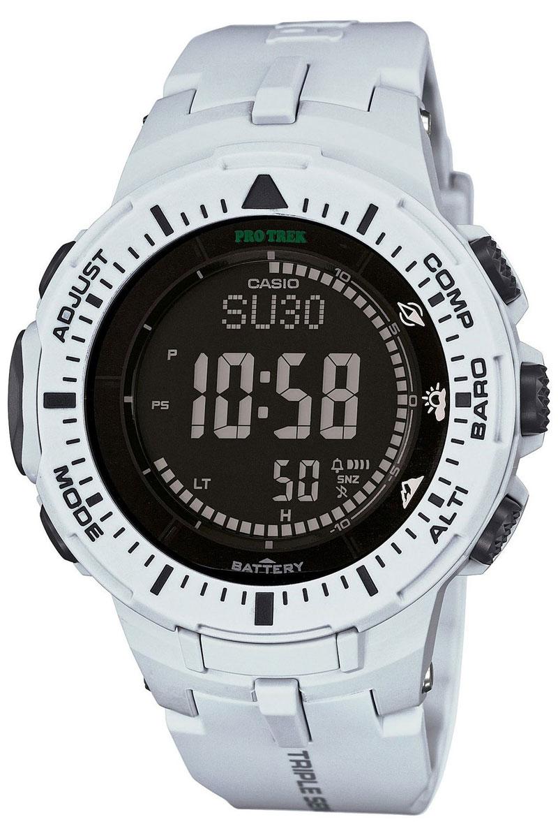 Часы мужские наручные Casio Pro Trek, цвет: серый, черный. PRG-300-7ERBM8434-58AEМногофункциональные часы Casio Pro Trek выполнены из полимерного материала, нержавеющей стали и минерального стекла. Корпус часов дополнен символикой бренда, браслет оформлен принтом камуфляж.Корпус изделия изготовлен из полимерного материала с элементами из нержавеющей стали и имеет степень влагозащиты равную 10 atm. Часы оснащены долговечным механизмом. Дополнительные функции часов: -Полностью автоматическая светодиодная подсветка: поворот руки при недостаточном освещении обеспечит автоматическое включение подсветки дисплея. -Солнечная батарея: солнечная подзаряжающаяся батарейка обеспечивает питание часов для работы. -Устойчивость к низким температурам (-10 °C): даже температура ниже-10°C не оказывает никакого влияния на эти часы.-Цифровой компас: встроенный цифровой компас определяет северный магнитный полюс. -Барометр (260/1.100 hPa): специальный датчик измеряет давление воздуха (диапазон измерений составляет 260/1100 гПа, 1 гПа = 0,75 мм рт. ст. или 1 мм рт. ст. = 1,333 гПа) и отображает измеренное значение на экране в виде символа. Это дает возможность заранее определить изменения погоды. -Термометр (-10°C/+60°C): датчик измеряет температуру окружающего воздуха вокруг часов и отображает ее на экране в градусах°C (-10°C/+60°C). -Высотометр 10,000 м: встроенный датчик давления определяет изменения в атмосферном давлении и преобразовывает полученные результаты в абсолютную высоту до 10 000 м.-График набора высоты: суммирует количество метров, на которое вы поднялись за один период времени таким образом, что вы сразу же сможете увидеть общий подъем, выполненный на одном отрезке пути. - Память данных высотометра: в зависимости от модели в памяти данных часов можно сохранить до 40 записей о высотных точках рельефа местностии получить к ним доступ в любое время. Каждая из этих записей состоит из измеренной абсолютной высоты, а также даты и времени.В дополнение к отдельным абсолютным выс