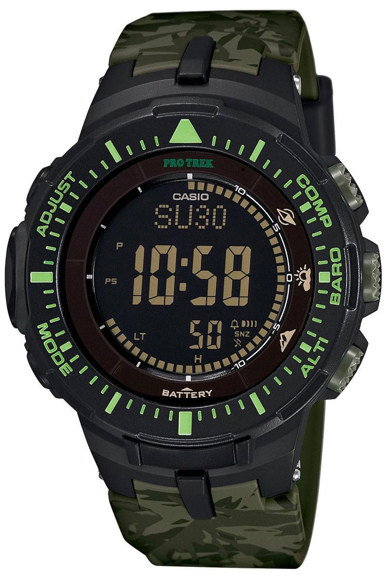 Часы мужские наручные Casio Pro Trek, цвет: черный, зеленый. PRG-300CM-3ERBM8434-58AEМногофункциональные часы Casio Pro Trek выполнены из полимерного материала, нержавеющей стали и минерального стекла. Корпус часов дополнен символикой бренда, браслет оформлен принтом камуфляж.Корпус изделия изготовлен из полимерного материала с элементами из нержавеющей стали и имеет степень влагозащиты равную 10 atm. Часы оснащены долговечным механизмом. Дополнительные функции часов: -Полностью автоматическая светодиодная подсветка: поворот руки при недостаточном освещении обеспечит автоматическое включение подсветки дисплея. -Солнечная батарея: солнечная подзаряжающаяся батарейка обеспечивает питание часов для работы. -Устойчивость к низким температурам (-10 °C): даже температура ниже-10°C не оказывает никакого влияния на эти часы.-Цифровой компас: встроенный цифровой компас определяет северный магнитный полюс. -Барометр (260/1.100 hPa): специальный датчик измеряет давление воздуха (диапазон измерений составляет 260/1100 гПа, 1 гПа = 0,75 мм рт. ст. или 1 мм рт. ст. = 1,333 гПа) и отображает измеренное значение на экране в виде символа. Это дает возможность заранее определить изменения погоды. -Термометр (-10°C/+60°C): датчик измеряет температуру окружающего воздуха вокруг часов и отображает ее на экране в градусах°C (-10°C/+60°C). -Высотометр 10,000 м: встроенный датчик давления определяет изменения в атмосферном давлении и преобразовывает полученные результаты в абсолютную высоту до 10 000 м.-График набора высоты: суммирует количество метров, на которое вы поднялись за один период времени таким образом, что вы сразу же сможете увидеть общий подъем, выполненный на одном отрезке пути. - Память данных высотометра: в зависимости от модели в памяти данных часов можно сохранить до 40 записей о высотных точках рельефа местностии получить к ним доступ в любое время. Каждая из этих записей состоит из измеренной абсолютной высоты, а также даты и времени.В дополнение к отдельным абсолютным