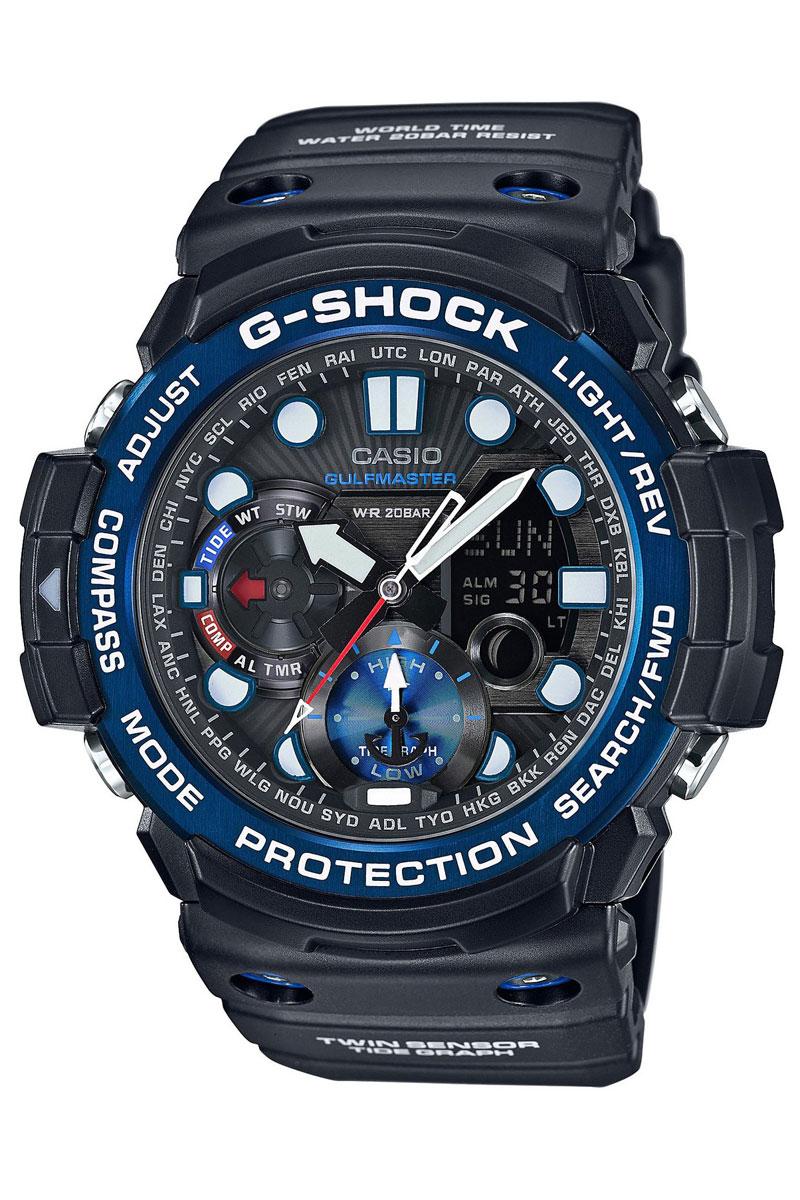 Часы наручные Casio, цвет: черный, синий. GN-1000B-1ABM8434-58AEНаручные часы Casio произведены опытными специалистами из материалов самого высокого качества на базе новейших технологий. Часы прошли тщательную проверку и контроль качества.Часы оснащены кварцевым механизмом. Корпус выполнен из полимерного материала. Дисплей часов защищен минеральным стеклом, устойчивым к появлению царапин и подсвечивается светодиодной автоматической супер-подсветкой. При движении руки дисплей освещается ярким светом. Ремешок часов выполнен из полимерного материала и оснащен застежкой-пряжкой. Часы имеют дополнительные функции: мировое время, индикатор даты, секундомер, таймер, будильник, компас, термометр, приливы и возраст Луны. Ударопрочная конструкция защищает механизм от ударов и вибрации.Часы укомплектованы паспортом с подробной инструкцией и упакованы в оригинальную фирменную коробку.Характеристики: Длина ремешка (с учетом корпуса): 28 см.Ширина ремешка: 2,5 см.Диаметр корпуса: 5,5 см.Диаметр циферблата: 5 см. Дополнительные функции: Встроенный цифровой компас, диапазон измерения от 0° до 359° с точностью 1°, коррекция магнитного склонения, встроенный датчик температуры от -10° до +60°С с точностью 0,1°C, мировое время - 29 городов (29 часовых поясов), всемирное координированное время (UTC), функция включения/отключения летнего времени, отображение возраста и фазы Луны, графическое отображение сведений о приливах и отливах на заданную дату и время, 12-ти и 24-х часовой формат времени, секундомер с точностью показаний 1/100с и временем измерения 1ч, таймер обратного отсчета от 1мин до 1ч, функция перемещения стрелок, функция отключения/включения звука.