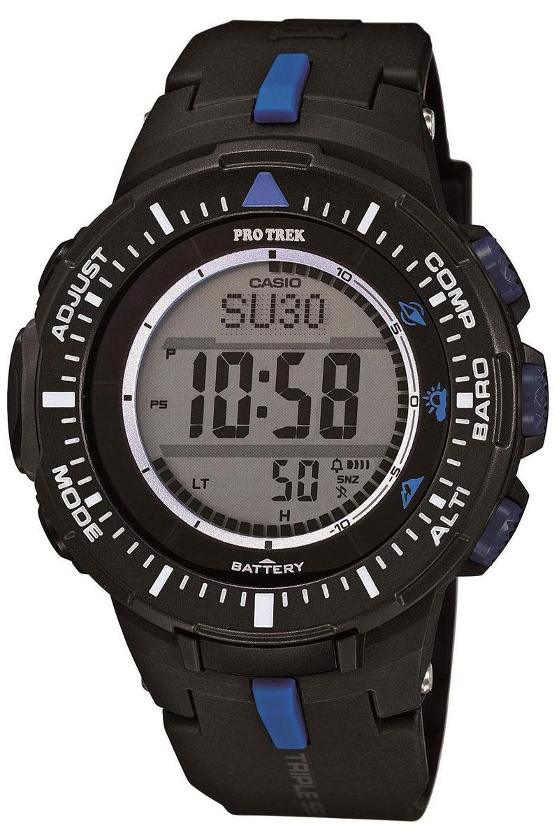 Часы мужские наручные Casio Pro Trek, цвет: черный, синий. PRG-300-1A2ERBM8434-58AEМногофункциональные часы Casio Pro Trek выполнены из полимерного материала, нержавеющей стали и минерального стекла. Корпус часов дополнен символикой бренда, браслет оформлен принтом камуфляж.Корпус изделия изготовлен из полимерного материала с элементами из нержавеющей стали и имеет степень влагозащиты равную 10 atm. Часы оснащены долговечным механизмом. Дополнительные функции часов: -Полностью автоматическая светодиодная подсветка: поворот руки при недостаточном освещении обеспечит автоматическое включение подсветки дисплея. -Солнечная батарея: солнечная подзаряжающаяся батарейка обеспечивает питание часов для работы. -Устойчивость к низким температурам (-10 °C): даже температура ниже-10°C не оказывает никакого влияния на эти часы.-Цифровой компас: встроенный цифровой компас определяет северный магнитный полюс. -Барометр (260/1.100 hPa): специальный датчик измеряет давление воздуха (диапазон измерений составляет 260/1100 гПа, 1 гПа = 0,75 мм рт. ст. или 1 мм рт. ст. = 1,333 гПа) и отображает измеренное значение на экране в виде символа. Это дает возможность заранее определить изменения погоды. -Термометр (-10°C/+60°C): датчик измеряет температуру окружающего воздуха вокруг часов и отображает ее на экране в градусах°C (-10°C/+60°C). -Высотометр 10,000 м: встроенный датчик давления определяет изменения в атмосферном давлении и преобразовывает полученные результаты в абсолютную высоту до 10 000 м.-График набора высоты: суммирует количество метров, на которое вы поднялись за один период времени таким образом, что вы сразу же сможете увидеть общий подъем, выполненный на одном отрезке пути. - Память данных высотометра: в зависимости от модели в памяти данных часов можно сохранить до 40 записей о высотных точках рельефа местностии получить к ним доступ в любое время. Каждая из этих записей состоит из измеренной абсолютной высоты, а также даты и времени.В дополнение к отдельным абсолютным в