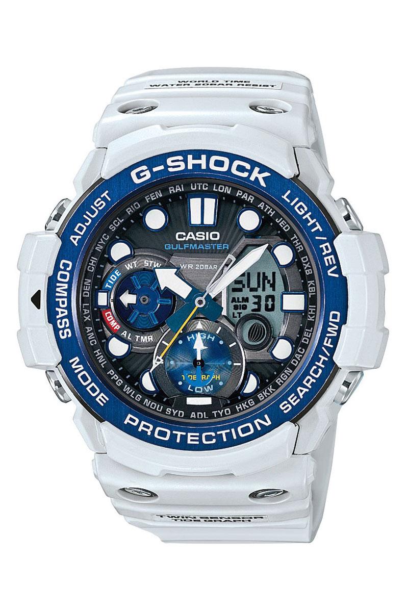 Часы наручные Casio, цвет: серый, синий. GN-1000C-8ABM8434-58AEНаручные часы Casio произведены опытными специалистами из материалов самого высокого качества на базе новейших технологий. Часы прошли тщательную проверку и контроль качества.Часы оснащены кварцевым механизмом. Корпус выполнен из полимерного материала. Дисплей часов защищен минеральным стеклом, устойчивым к появлению царапин и подсвечивается светодиодной автоматической супер-подсветкой. При движении руки дисплей освещается ярким светом. Ремешок часов выполнен из полимерного материала и оснащен застежкой-пряжкой. Часы имеют дополнительные функции: мировое время, индикатор даты, секундомер, таймер, будильник, компас, термометр, приливы и возраст Луны. Ударопрочная конструкция защищает механизм от ударов и вибрации.Часы укомплектованы паспортом с подробной инструкцией и упакованы в оригинальную фирменную коробку.Характеристики: Длина ремешка (с учетом корпуса): 28 см.Ширина ремешка: 2,5 см.Диаметр корпуса: 5,5 см.Диаметр циферблата: 5 см. Дополнительные функции: Встроенный цифровой компас, диапазон измерения от 0° до 359° с точностью 1°, коррекция магнитного склонения, встроенный датчик температуры от -10° до +60°С с точностью 0,1°C, мировое время - 29 городов (29 часовых поясов), всемирное координированное время (UTC), функция включения/отключения летнего времени, отображение возраста и фазы Луны, графическое отображение сведений о приливах и отливах на заданную дату и время, 12-ти и 24-х часовой формат времени, секундомер с точностью показаний 1/100с и временем измерения 1ч, таймер обратного отсчета от 1мин до 1ч, функция перемещения стрелок, функция отключения/включения звука.