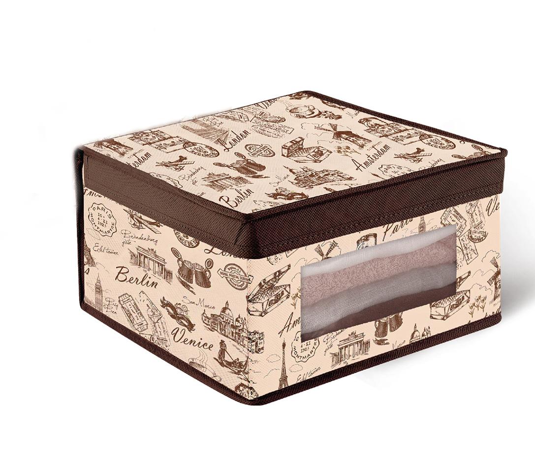 Кофр для хранения Valiant Travelling, с окошком, 30 х 30 х 16 смU210DFКофр для хранения Valiant Travelling изготовлен из высококачественного нетканого материала, который обеспечивает естественную вентиляцию, позволяя воздуху проникать внутрь, но не пропускает пыль. Вставки из плотного картона хорошо держат форму. Кофр снабжен специальной крышкой, а также прозрачным окошком из ПВХ. Изделие отличается мобильностью: легко раскладывается и складывается. В таком кофре удобно хранить одежду, белье и мелкие аксессуары. Оригинальный дизайн погружает в атмосферу путешествий по разным городам и странам.Системы хранения в едином дизайне сделают вашу гардеробную красивой и невероятно стильной.