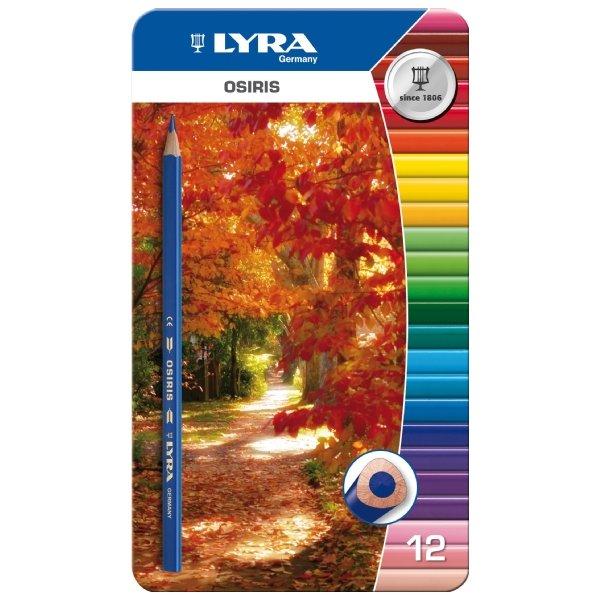 Цветные карандаши Lyra Osiris,в металлической коробке, 12 цветов2010440Цветные карандаши Lyra Osiris непременно, понравятся вашему юному художнику. Набор включает в себя 12 ярких насыщенных цветных карандаша треугольной формы для удобного захвата. Идеально подходят для школы. Карандаши изготовлены из дерева, экологически чистые, с лакированным покрытием. Имеют прочный неломающийся грифель, не требующий сильного нажатия и легко затачиваются. Упакованы в удобный металлический футляр. Порадуйте своего ребенка таким восхитительным подарком! В комплекте: 12 карандашей.