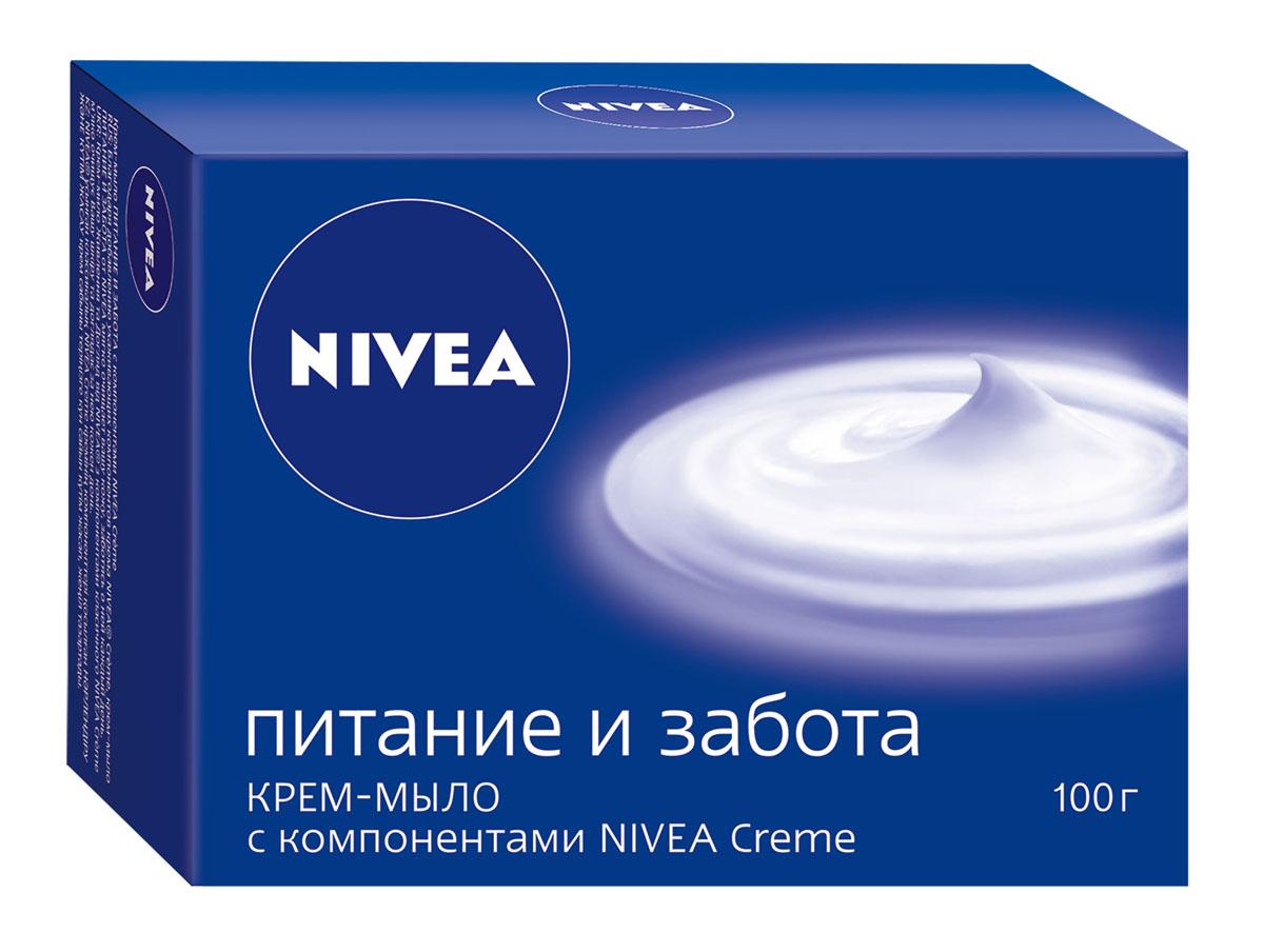 NIVEA Крем-мыло «Питание и забота» 100 гр40034Самое ухаживающее мыло в линейке NIVEA вформате твердого и жидкого мыла. Интенсивный уход,который подходит даже для самой сухой кожи рукИнтенсивное питание и уход благодаря содержаниюкомпонентов NIVEA Creme (про-витамин B5 иухаживающие масла) Ухаживающая формула крем-мыла не оставляетощущения сухости на коже после использования(основной барьер по использованию мыла).