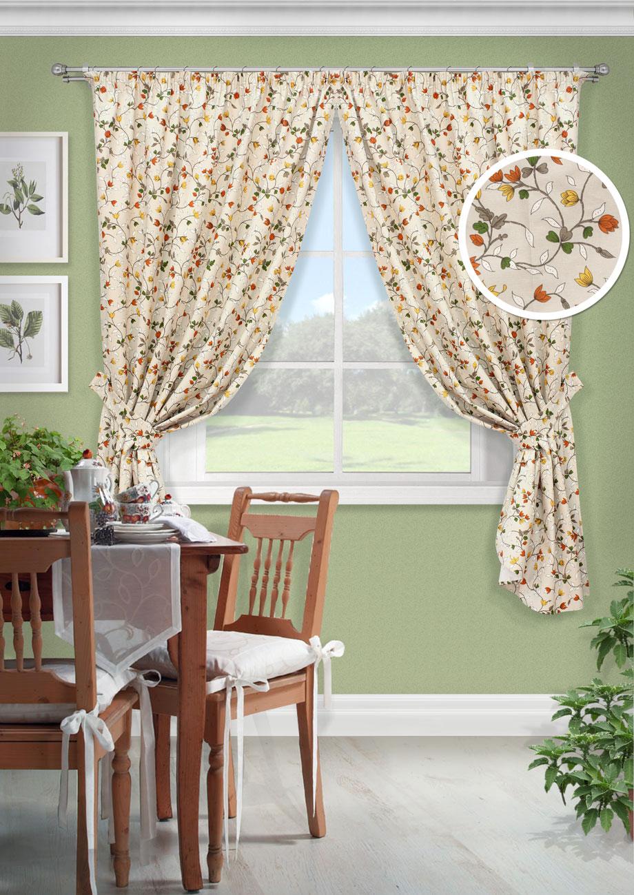 Комплект штор Лирика-С, UN12326163020155-9Комплект штор для кухни портьера лонета цветы. На шторной ленте(136*175)*2 + 2 подхвата
