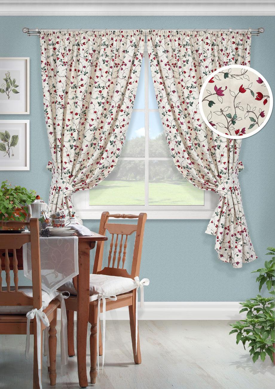Комплект штор Лирика-С, UN123261670SVC-300Комплект штор для кухни портьера лонета цветы. На шторной ленте(136*175)*2 + 2 подхвата