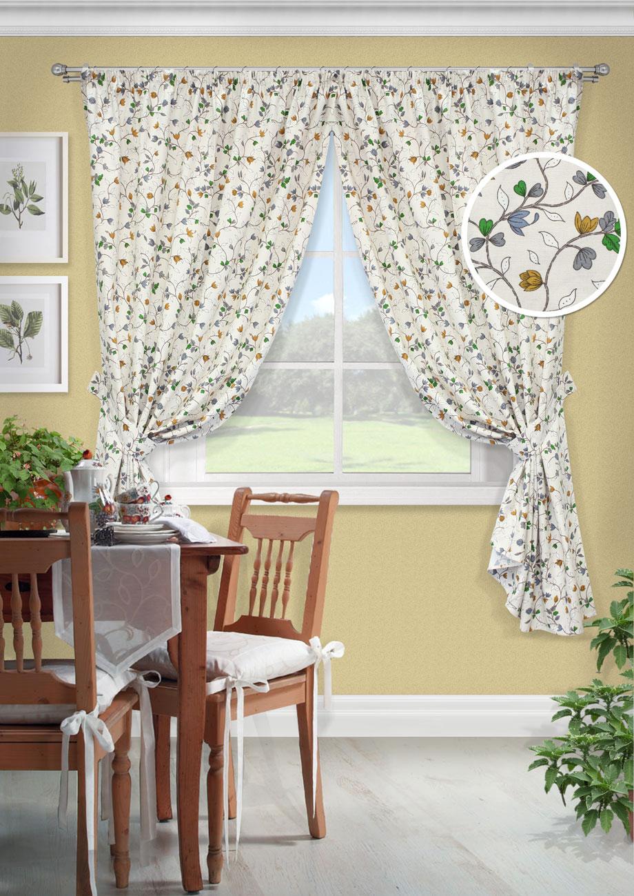 Комплект штор Лирика-С, UN123261680SVC-300Комплект штор для кухни портьера лонета цветы. На шторной ленте(136*175)*2 + 2 подхвата