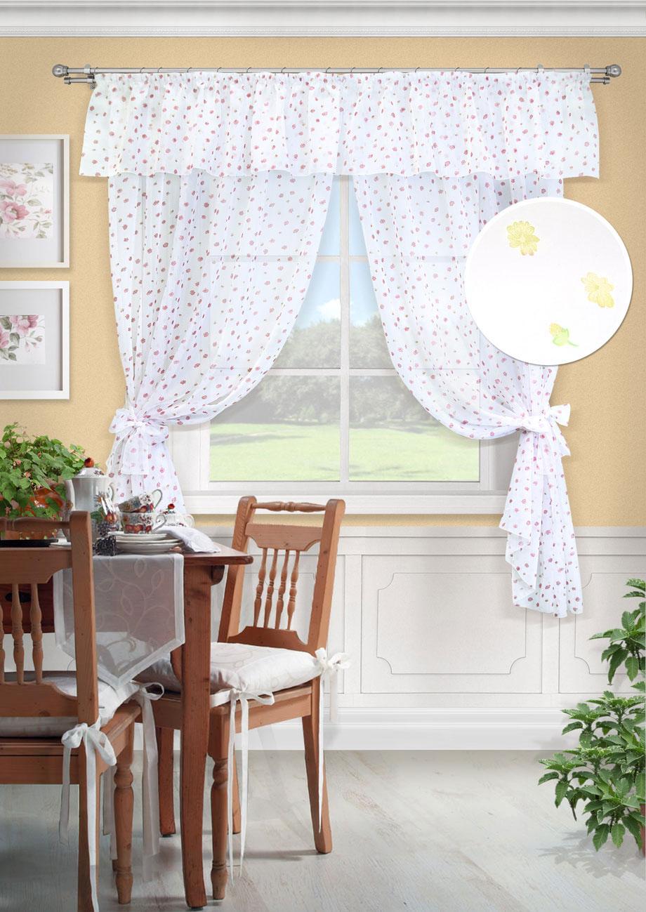 Комплект штор Флора-С, UN123505150710461Комплект штор для кухни две шторы вуаль принт, ламбрекен, 2 подхвата. Состав 100% Полиэстер. Цвет белый2 шторы 139х187см, ламбрекен 280х38см, 2 подхвата