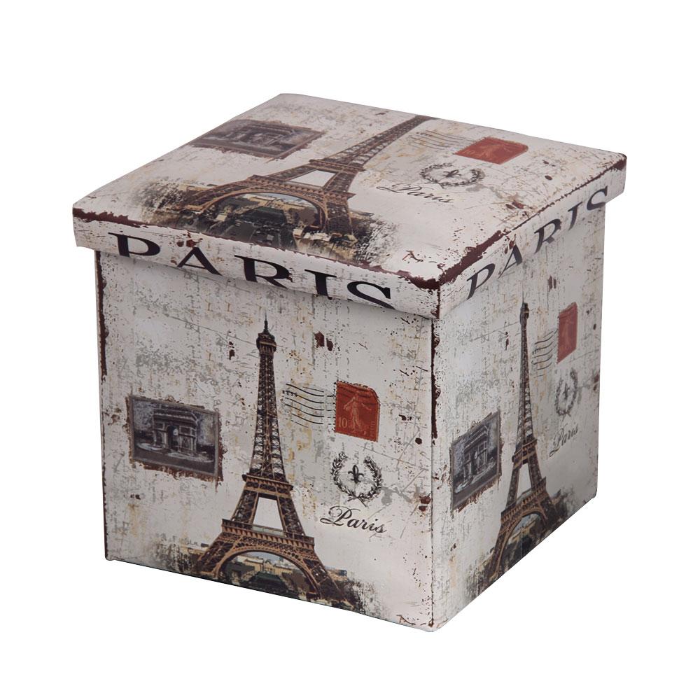 Пуф-короб для хранения Miolla Paris, 38 х 38 х 38 см74-0060Пуф-короб для хранения Miolla Paris - удобный, компактный и стильный предмет интерьера. Изделие отличает актуальный дизайн и многофункциональность. На пуфе комфортно сидеть - он выдерживает вес до 200 кг. Верхняя часть пуфа представляет собой съемную крышку, внутри можно хранить небольшие предметы домашнего обихода. Пуф-короб складной, благодаря чему его удобно хранить и перевозить. Яркий дизайн с изображением Эйфелевой башни привнесет в ваш интерьер неповторимый шарм.
