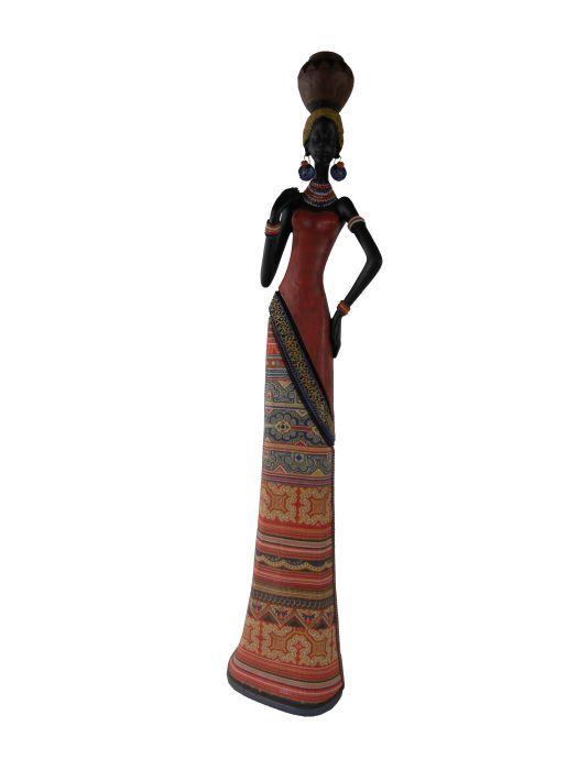 Фигурка декоративная Феникс-презент Африканка с кувшином на голове, высота 45 см37918Декоративная фигурка Феникс-презент Африканка с кувшином на голове, изготовленная из полирезина, достойно украсит интерьер вашего дома или офиса. Она выполнена в виде африканской девушки в национальной одежде с кувшином на голове. Вы можете поставить украшение в любом месте, где оно будет удачно смотреться и радовать глаз. Кроме того, это отличный вариант подарка для ваших близких и друзей.Размер фигурки: 11 х 9 х 45 см.